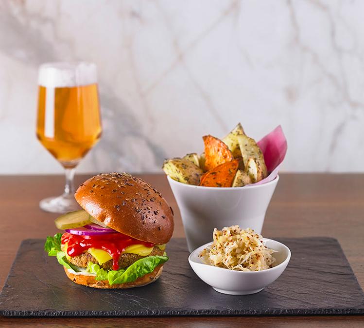 Best vegan restaurants London | Vegan burger and chips at Wulf & Lamb