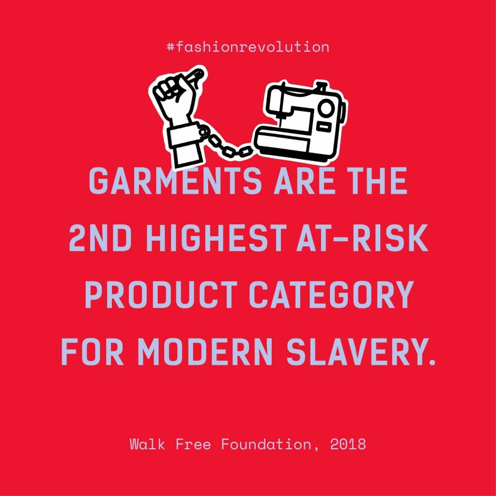 """Quote: """"Garments are the 2nd highest at-risk product category for modern slavery"""""""