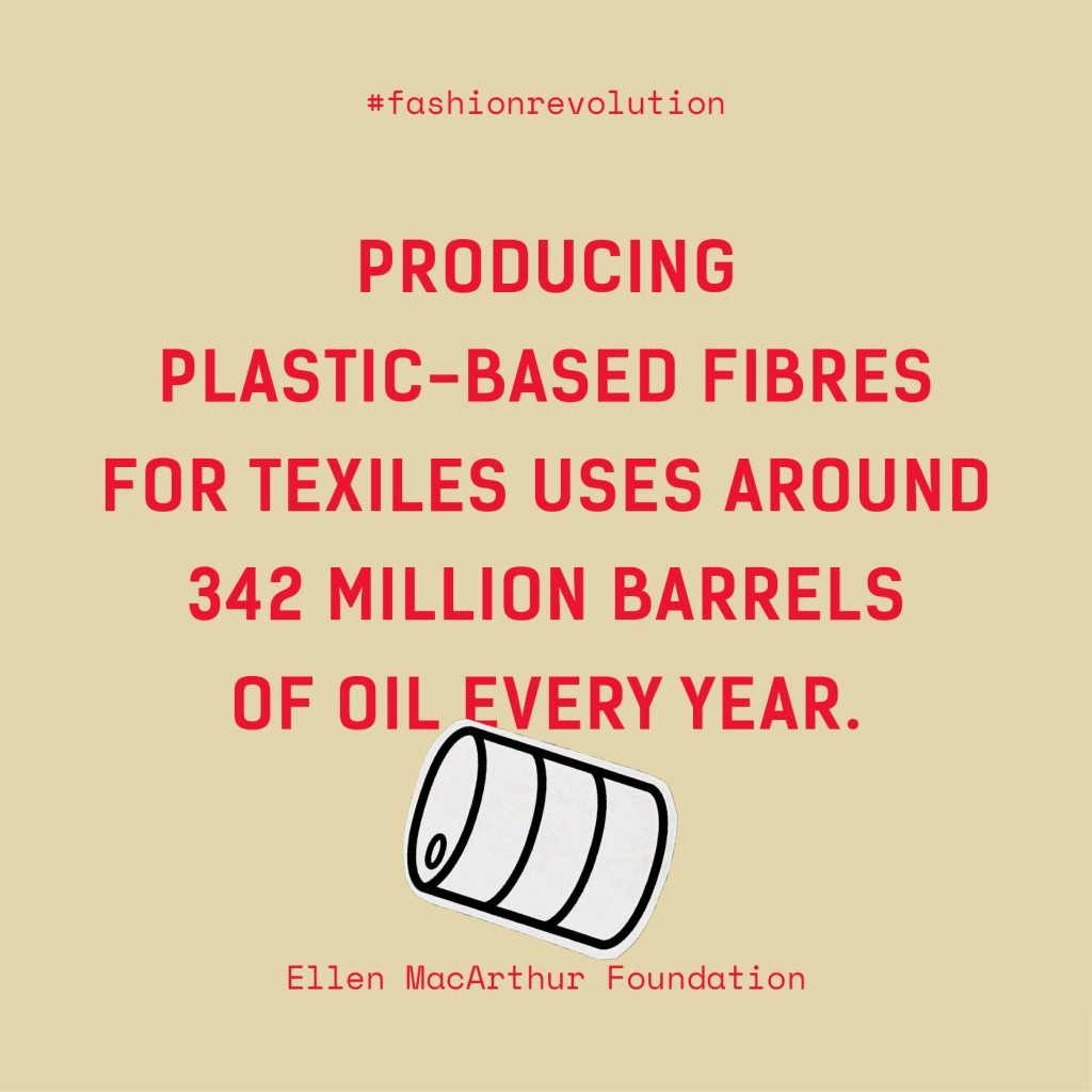Quote: Producing Plastic-based fibres for textiles uses around 342 million barrels of oil every year