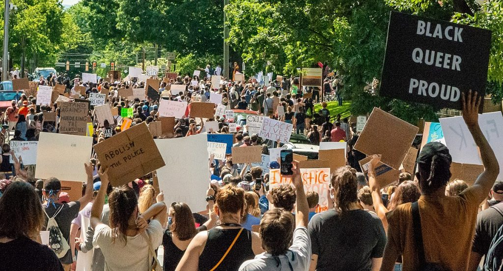 Black Lives Matter. Demonstration in Charlottesville, Virginia on May 30, 2020